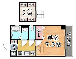 JR東海道・山陽本線 灘駅 徒歩1分の賃貸マンション 5階1Kの間取り