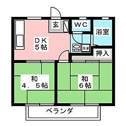 コーポリビュレットB棟[1階]の間取り