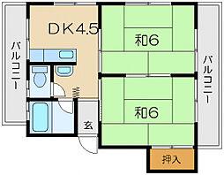 パールハイツB棟[3階]の間取り