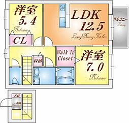 兵庫県神戸市北区山田町下谷上池之内の賃貸アパートの間取り