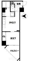 アクアプレイス京都二条城北 5階1DKの間取り