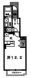 リッチリバー館 1階ワンルームの間取り