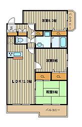 東武東上線 ときわ台駅 徒歩8分の賃貸マンション 6階3LDKの間取り