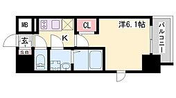 エスリードザ・ランドマーク神戸 9階1Kの間取り