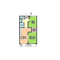 ムサシハイツ 2階2DKの間取り