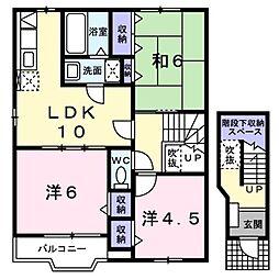 神奈川県座間市立野台3丁目の賃貸アパートの間取り