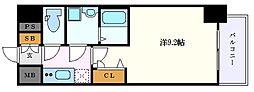 プレサンス栄フェル 4階1Kの間取り