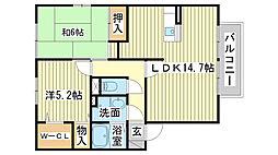 ロイヤルグレース花田B棟[B105号室]の間取り