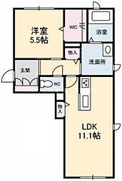 岡山県浅口市金光町占見丁目なしの賃貸アパートの間取り