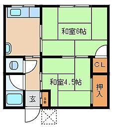 兵庫県尼崎市南塚口町3丁目の賃貸アパートの間取り