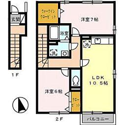 アドミラブ−ルC棟[2階]の間取り