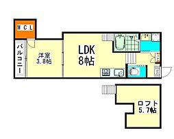 愛知県名古屋市北区上飯田北町2丁目の賃貸アパートの間取り