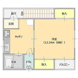 サンクススタジオ館林 2階1Kの間取り