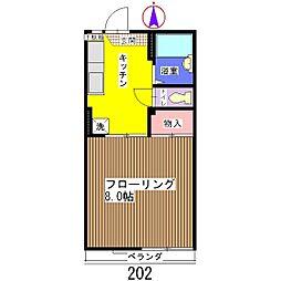 SKハイツ A棟[202号室]の間取り
