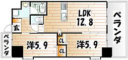 ウィングス三萩野[10階]の間取り