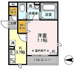 D-room ラ フェリーチェ湘南[303号室]の間取り