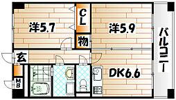 ニューシティアパートメンツ南小倉II[6階]の間取り