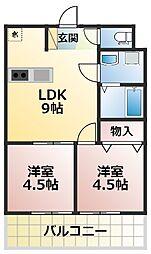 SAKURA VILLAGE 2階2LDKの間取り