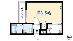 (仮称)西院六反田町共同住宅II 2階1Kの間取り