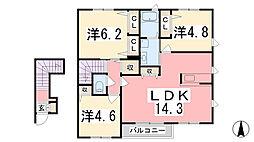 シャーメゾンアミト・マーネ[202号室]の間取り