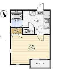 TAKEYARIハイツII[401号室]の間取り