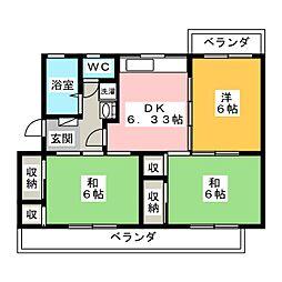 コーポ富士見[4階]の間取り