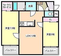 三重県四日市市下さざらい町の賃貸マンションの間取り