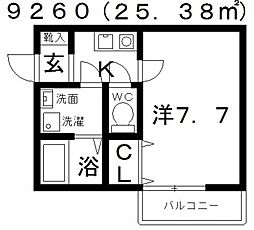 JPアパートメント松原[102号室号室]の間取り