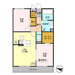埼玉県さいたま市中央区本町西4丁目の賃貸アパートの間取り