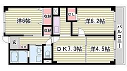 山陽電鉄本線 藤江駅 徒歩6分の賃貸マンション 2階3DKの間取り