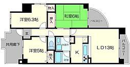Osaka Metro長堀鶴見緑地線 今福鶴見駅 徒歩3分の賃貸マンション 5階3LDKの間取り