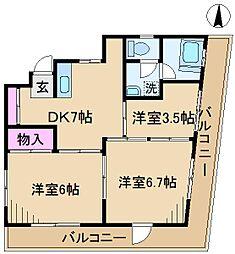 カーサ竹矢第2[2階]の間取り