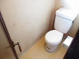 現在リフォーム中 2階トイレ写真です。新品のTOTO製温水洗浄便座付きトイレに交換する予定です。天井と壁のクロスを張り替えて、床はクッションフロアに張り替える予定です。