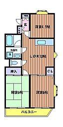 東京都日野市栄町1丁目の賃貸マンションの間取り