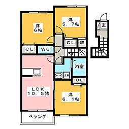 ローズガーデンN・T II[2階]の間取り