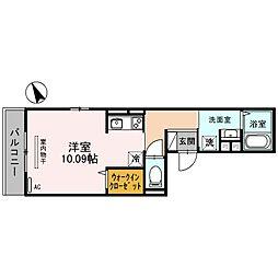 ラウレア 3階ワンルームの間取り