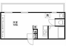 都営大江戸線 西新宿五丁目駅 徒歩5分の賃貸マンション 5階ワンルームの間取り