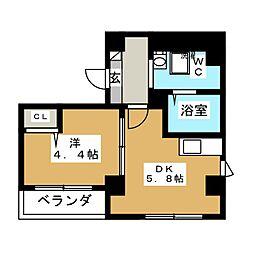 平井SKハイツ 4階1Kの間取り