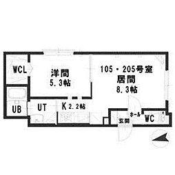パストラーレ栄通10[2階]の間取り
