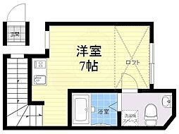 JR中央線 西荻窪駅 徒歩10分の賃貸アパート 2階ワンルームの間取り