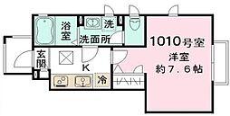 三井壱番館 1階1Kの間取り