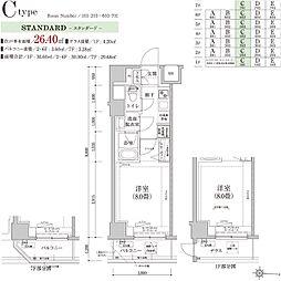 ティモーネ グランデ錦糸町 7階1Kの間取り