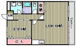 ワンスリーマンション[203号室]の間取り