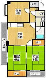 大阪府堺市東区大美野の賃貸マンションの間取り