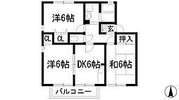 ハイツ南花屋敷[1階]の間取り