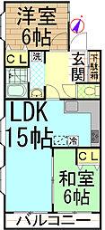 マンションMOMO日野[1階]の間取り