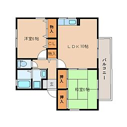 静岡県静岡市清水区船越南町の賃貸アパートの間取り