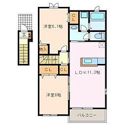 三重県松阪市船江町の賃貸アパートの間取り