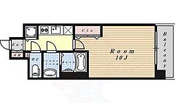 プレサンス丸の内フォート 15階1Kの間取り