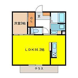 JR篠ノ井線 川中島駅 徒歩31分の賃貸アパート 1階1LDKの間取り
